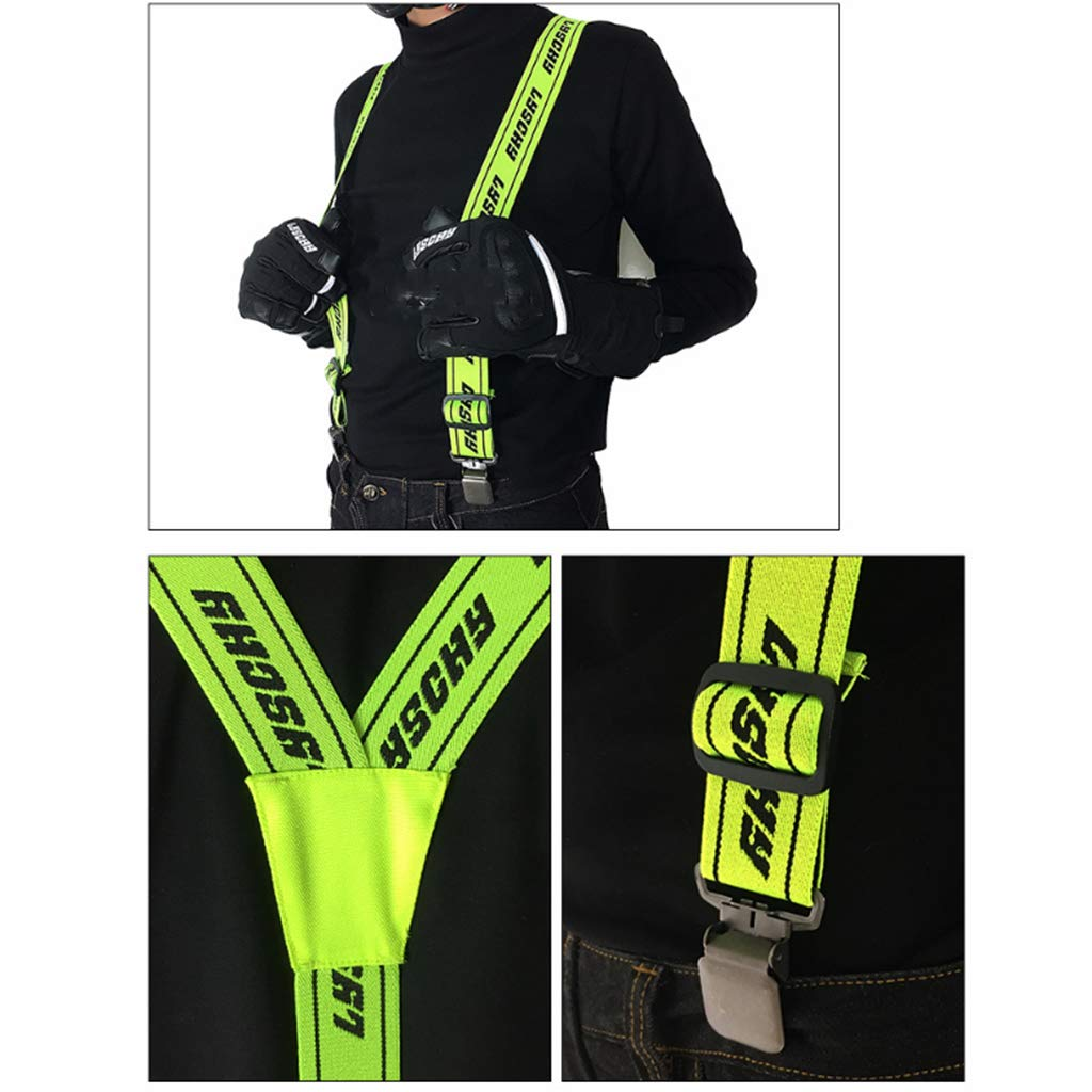 Green M Baosity Men//Women Elastic Y-Shape Braces Adjustable Clip On Suspender Unisex