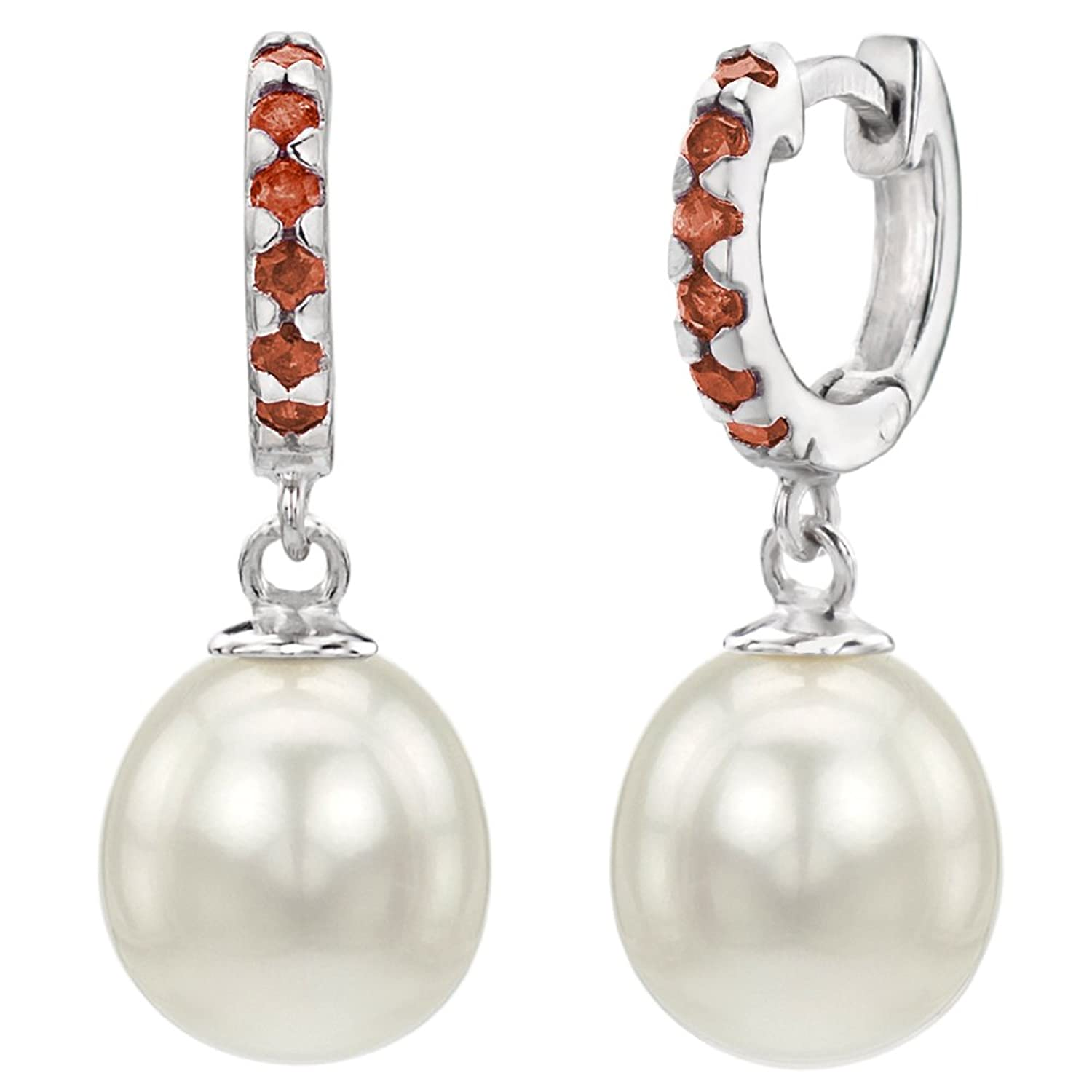 Sterling Silver 9-9.5mm White Freshwater Cultured Pearl 1.75mm Simulated Red Garnet Dangle Earrings