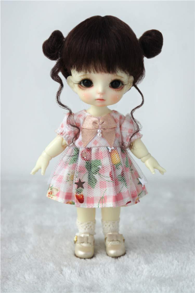 JD406 5-6'' 13-15CM Twin Buns Mohair BJD Wigs 1/8 Lati Yellow BJD Doll Accessories (Dark Brown)