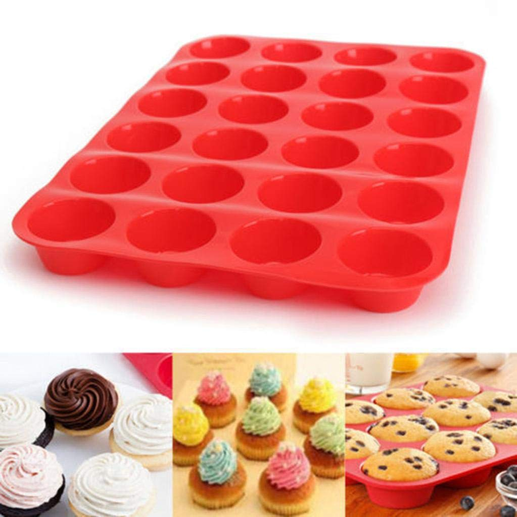 Junshion 24 Cavity Mini Muffin Cup Premium Silicone Soap Cookies Baking Pan Bakeware Pan Tray Mould Molds