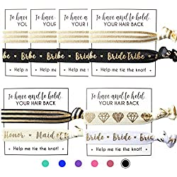 Set of Bride Tribe Hair Ties - To Have And To Hold Your Hair Back - Help Me Tie the Knot - Bachelorette, Wedding Shower, Party Favors for Bridesmaids (6 x 2pc Set, Black & Gold)