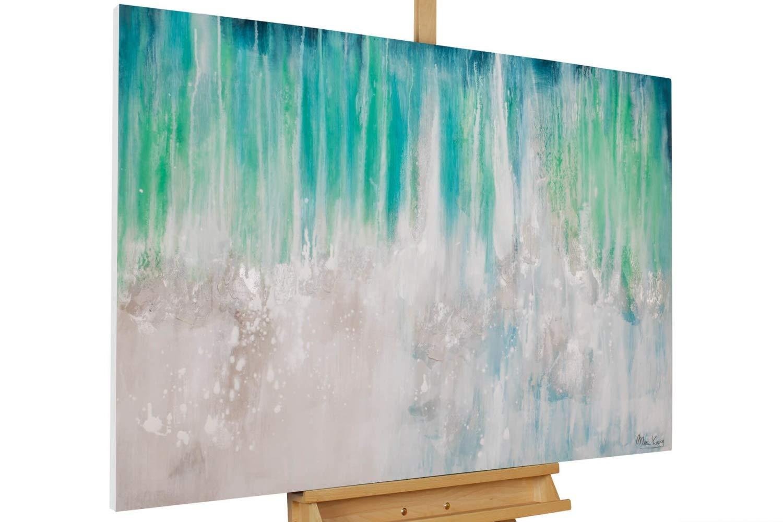 KunstLoft® Acryl Gemälde 'Eisiger Schauer' 120x80cm | original handgemalte Leinwand Bilder XXL | Abstrakt Wellen Meer Grau Blau | Wandbild Acrylbild Moderne Kunst einteilig mit Rahmen