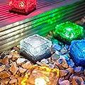 CanMixs Solar Powered LED Glass Brick Lawn Night Light
