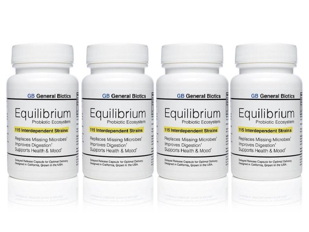 Equilibrium Probiotic Supplement with Prebiotic - Daily Time Release - 120 Effective Easy to Swallow Capsules - Highest Strain Count in The World - 4 Bottles