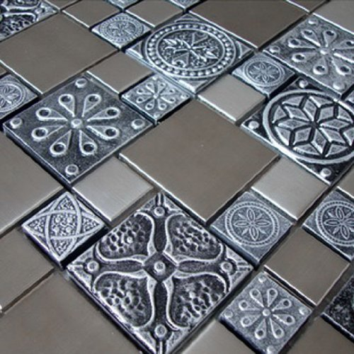 Roman Pattern Stainless Steel And Pewter Accents Metal Tile - Kitchen Backsplash/Bathroom Wall/Home Decor/Fireplace Surround