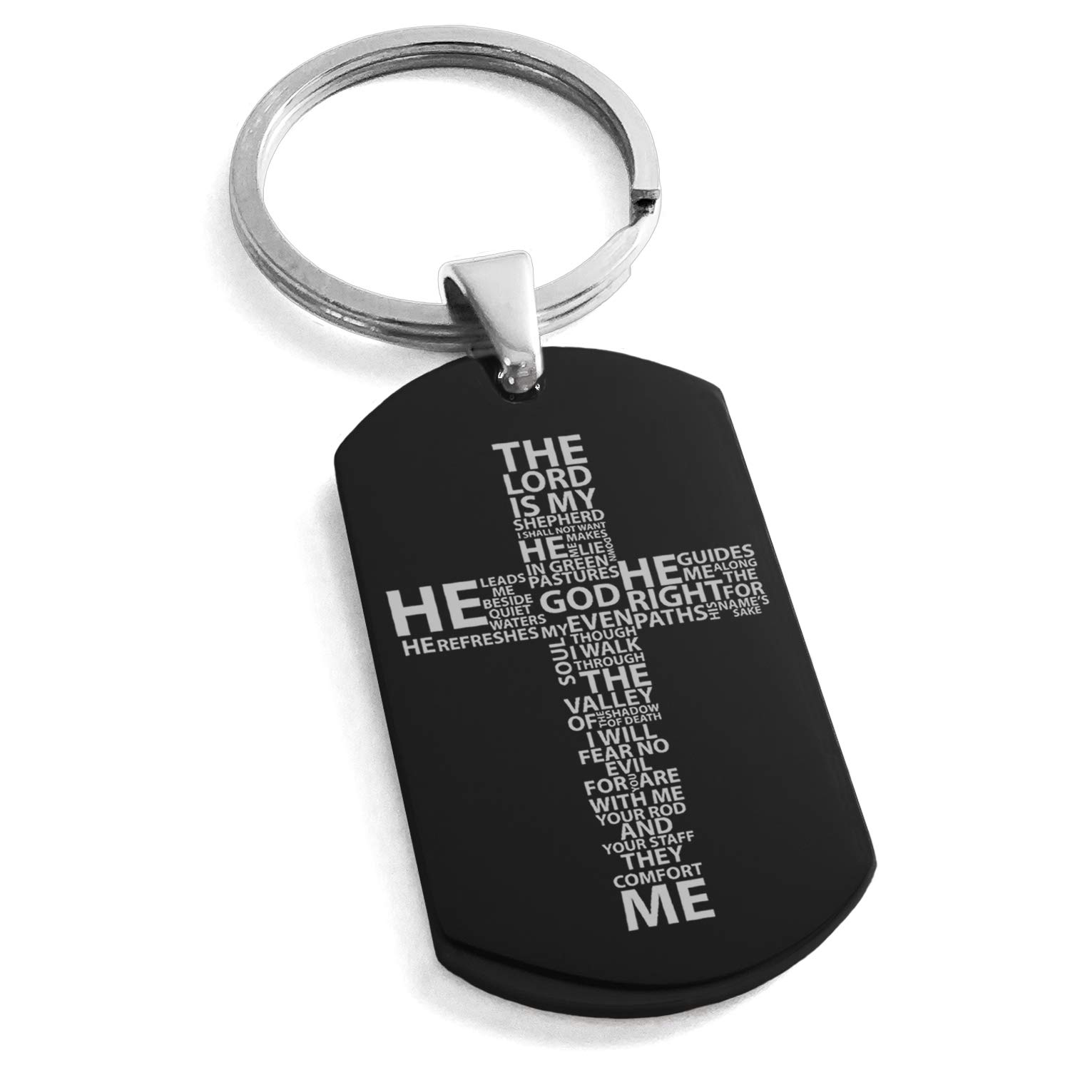 Tioneer Black Stainless Steel The Lord is My Shepherd Psalm 23:1-4 Engraved Dog Tag Keychain Keyring