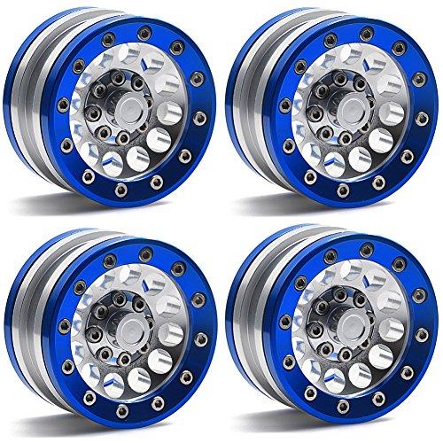 MOHERO 1.9 Alloy Beadlock Crawler Wheels Rims Set for RC 1/10 Model Crawler SCX10 Pack of 4 (Blue)
