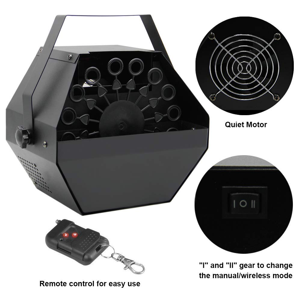 ATDAWN Portable Bubble Machine, Professional Automatic Bubble Maker with High Output for Outdoor/Indoor Use, Wireless Remote Control (Black) by ATDAWN (Image #3)