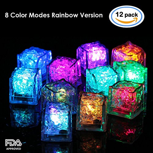 (12 Pack) Multi Color Light-Up LED Ice Cubes,1.37 times 1.37 Inch Square with 8mode color Changing and Flashing Function – Multi Color Version - Ice Color