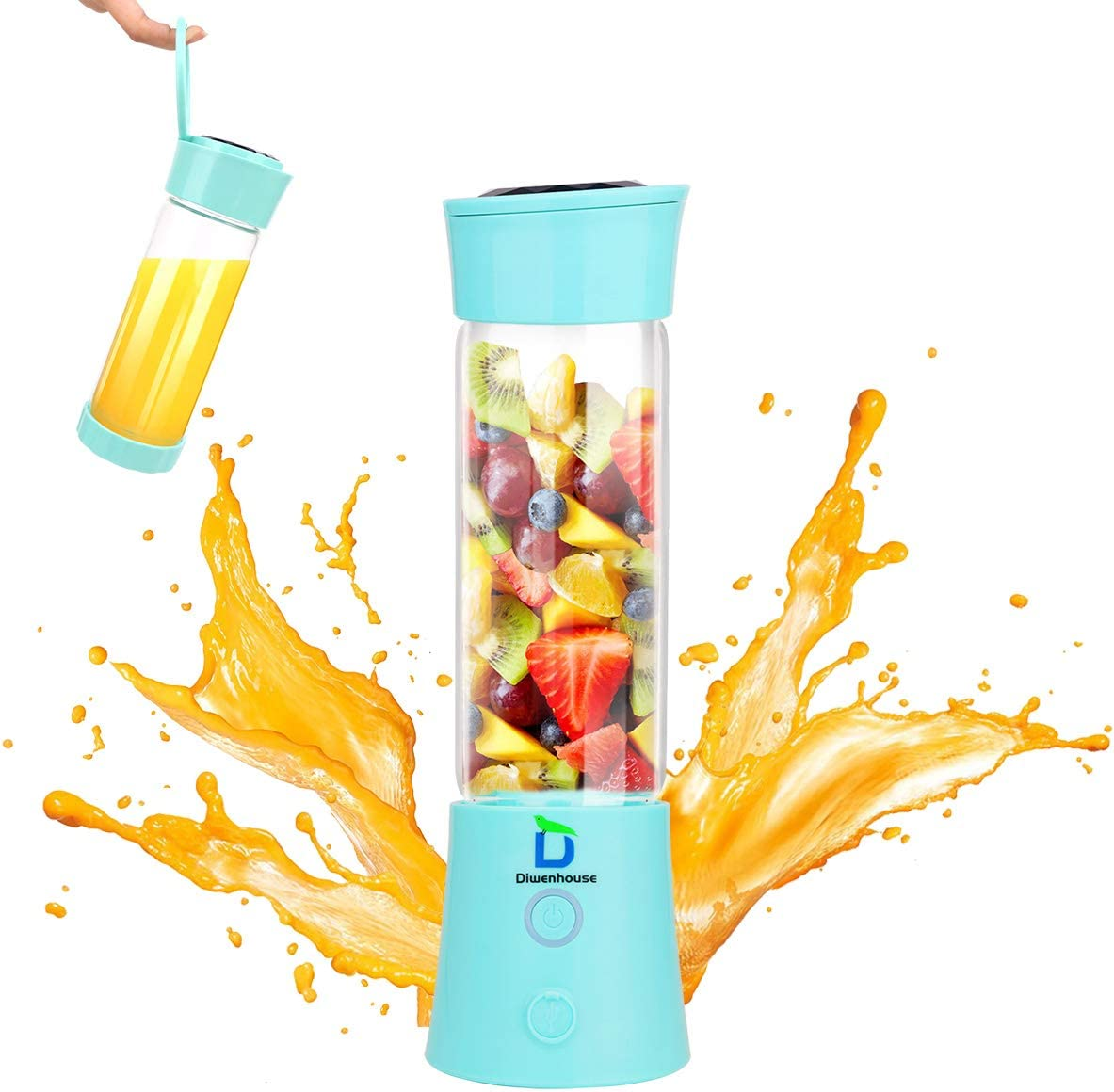 Diwenhouse Portable Blender, Personal Size Blender for Shakes and Smoothies Mini Juicer Cup 16 oz USB Rechargeable Battery Wireless Blue