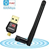 Wifi Dongle, AC600Mbps USB WIFI Adapter, 2.4G/5G Dual Band Wireless Adapter Dongle, for PC Desktop Laptop Tablet, Support Windows 10/8.1/8/7/XP/Vista, MAC OS X 10.4-10.12