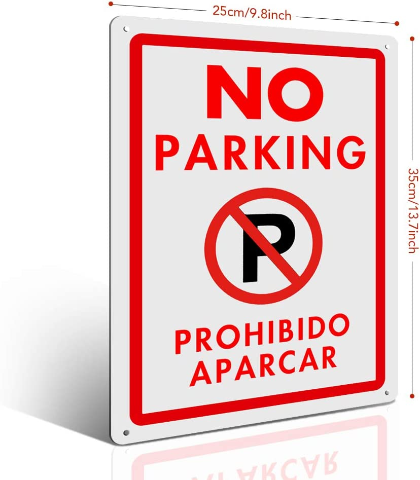 MYSIBKER No Parking Signs with Symbol with Two English and Spanish Arrows Sign 35 * 25cm No Parking Readable on Both Sides 040 Aluminum