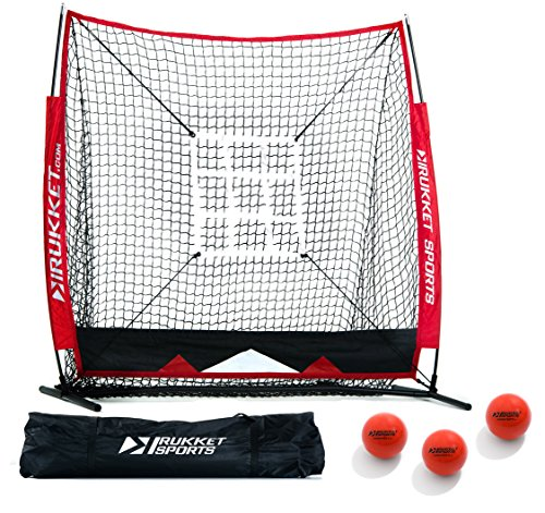 Rukket 5x5 Baseball & Softball Practice Hitting Net ACE Bundle w/ 3 Training Balls & Strike Zone