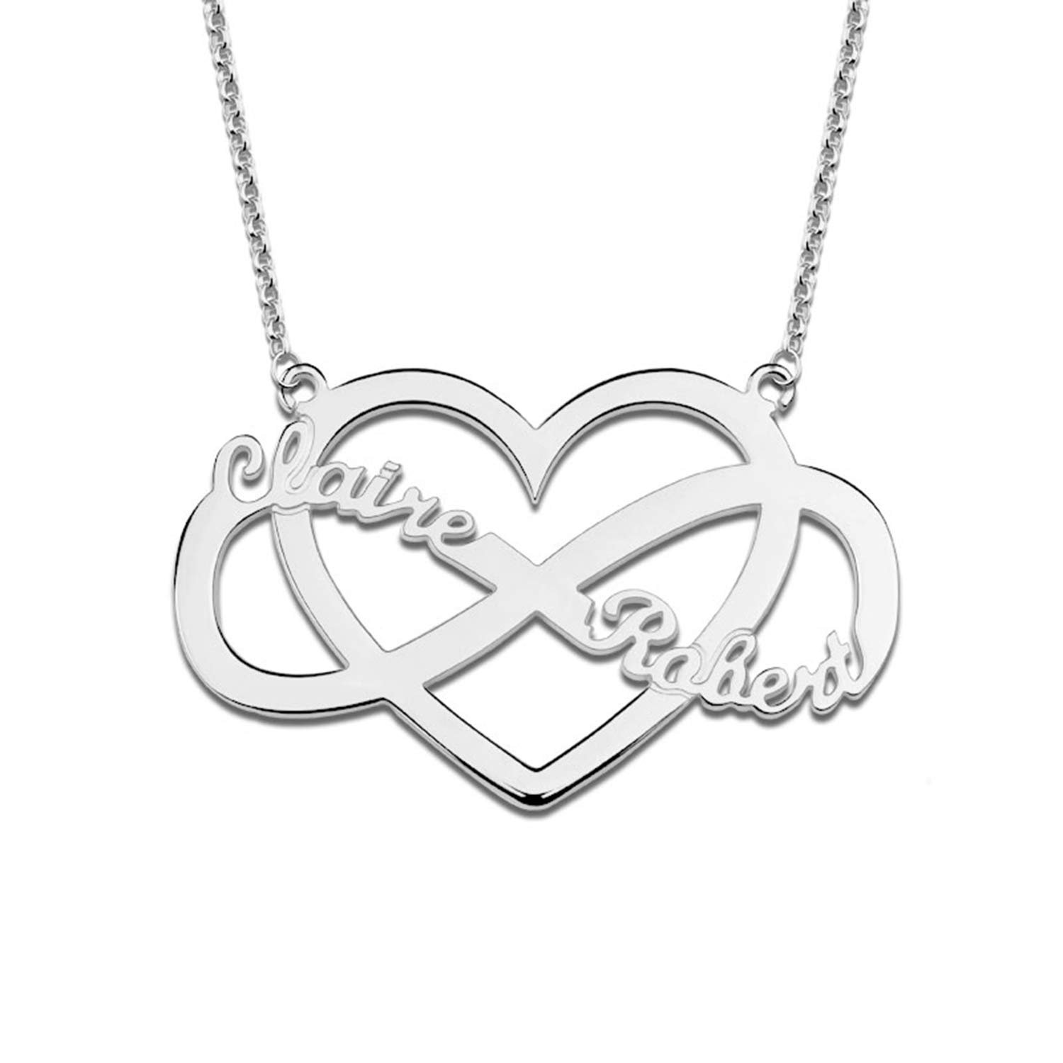 "LONAGO 925 Sterling Silver Personalized Name Necklace Heart Infinty Interlocking Necklace with Engraving Any Two Names Adjustable 16/""-20/"""