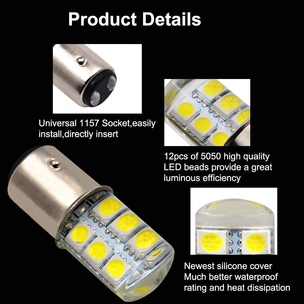 LncBoc 1157 BAY15D 12SMD 5050 Chipsets LED Bulbs Super Bright For Car Auto Parking Backup Reverse Lights Xenon White Colour 6000K Pack of 2