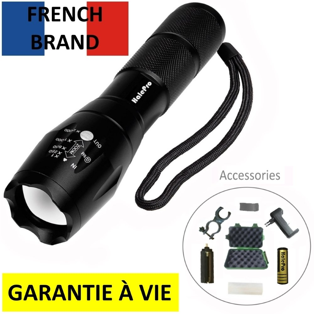 halepro torche lampe de poche led rechargeable led lampe v lo militaire ebay. Black Bedroom Furniture Sets. Home Design Ideas