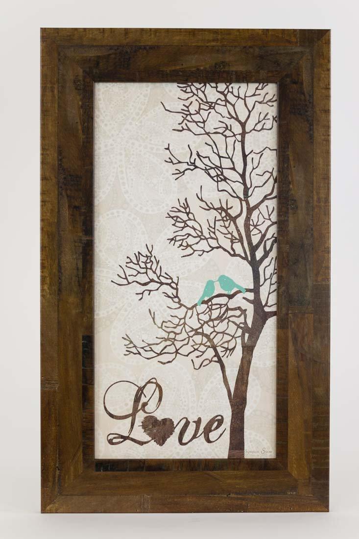 Love Tree Restoration Restored Bird Tree Blue Framed Art Decor 10x16''