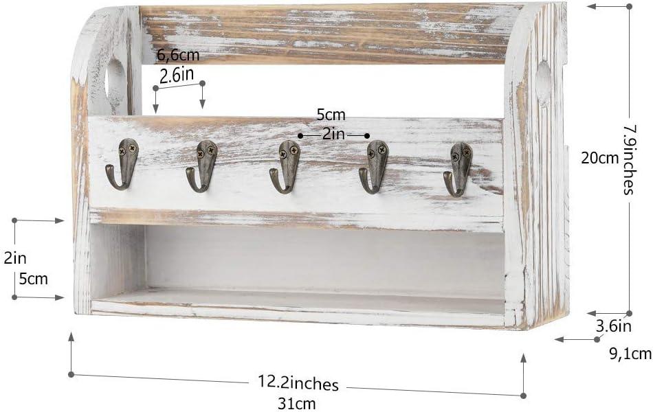 Schl/üsselbrett mit Briefablage aus Holz mit 6 Schl/üsselhaken f/ür Briefen nat/ürliche Holzfarbe Schl/üssel Notizen