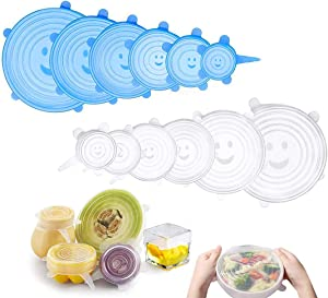 Silicone Stretch Lids - HIFEOS 12-Pack Flexible, Expandable and Reusable Covers for Jars, Bowls, Dishes, Pot, Cans and Fruits, 6 Sizes Silicone Food Covers