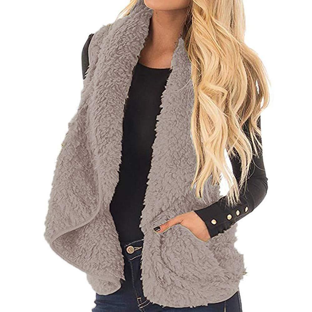 Lazzboy Womens Gilet Coat Jacket Warm Faux Fur Lapel Double Sided Fleece Plain Sleeveless Outerwear Vest Waistcoat