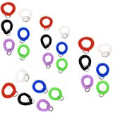 Elife Pack of 24 Assorted Color Stretchable Plastic Bracelet Wrist Coil Wrist band Key Ring Chain Holder Tag (24PCS-6 Mixed Color)