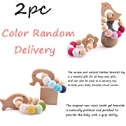 HAO JIE 2pc Baby Wooden Teething Toys Organic Elephant Fish Shaped Teething Chewable Toy Montessori Baby Teething Safe and Natural