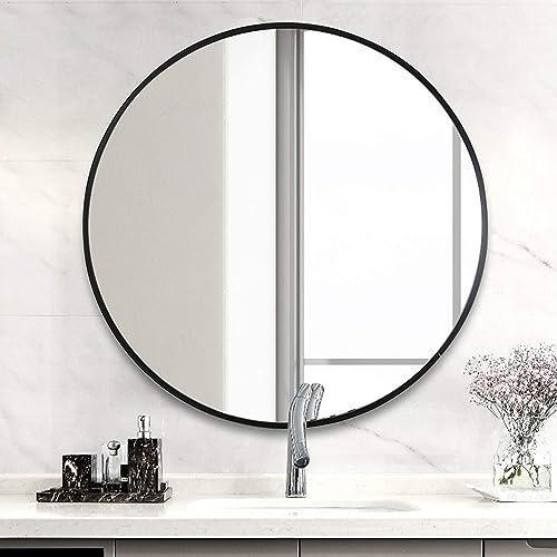 LYNSLIM 24 Black Metal Frame Round Vanity Mirror – Decorative Wall Mirror for Bedroom Bathroom Washroom Living Room Entrance Mirror