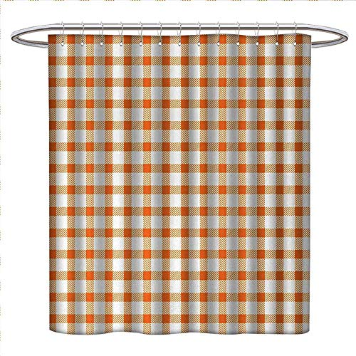 Anniutwo Orange and White Shower Curtain Collection by Retro Gingham Style Checkered Squares Pattern in Warm Colors Plaid Custom Made Shower Curtain W48 x L84 Orange and White (Color Split Pattern Plaid)