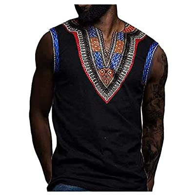 WINJUD Mens Tank Top Ethnic Style Print Slim Fit Vest V-Neck Sleeveless Casual T-Shirt at Men's Clothing store