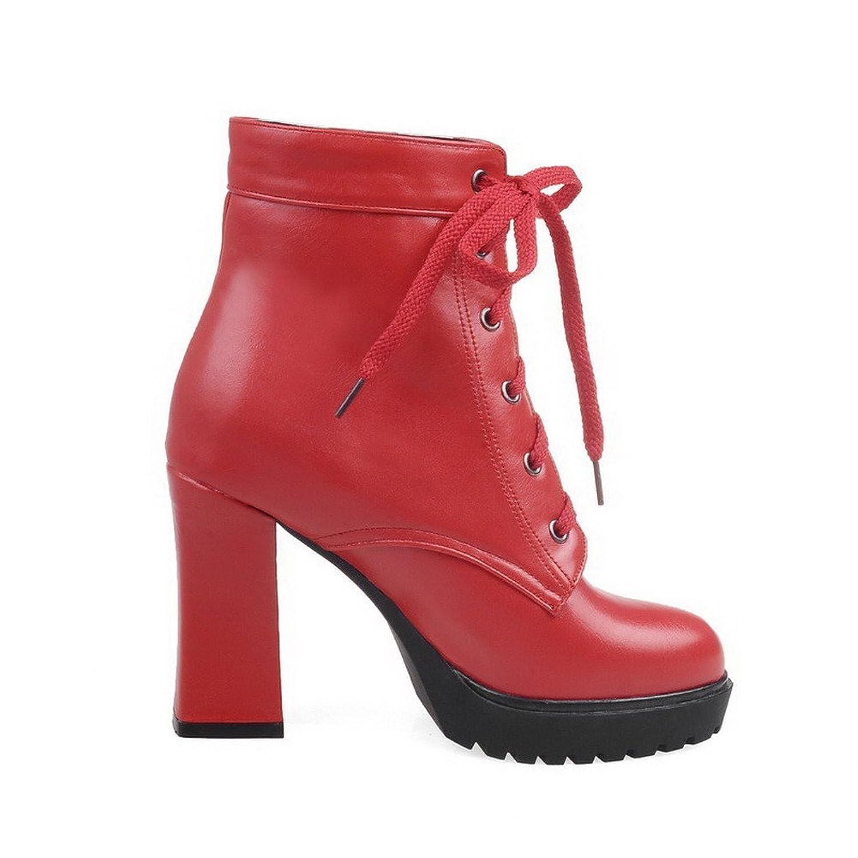 AgooLar Damen Hoher Absatz PU Zweifarbig Schnüren Stiefel, Rot, 34