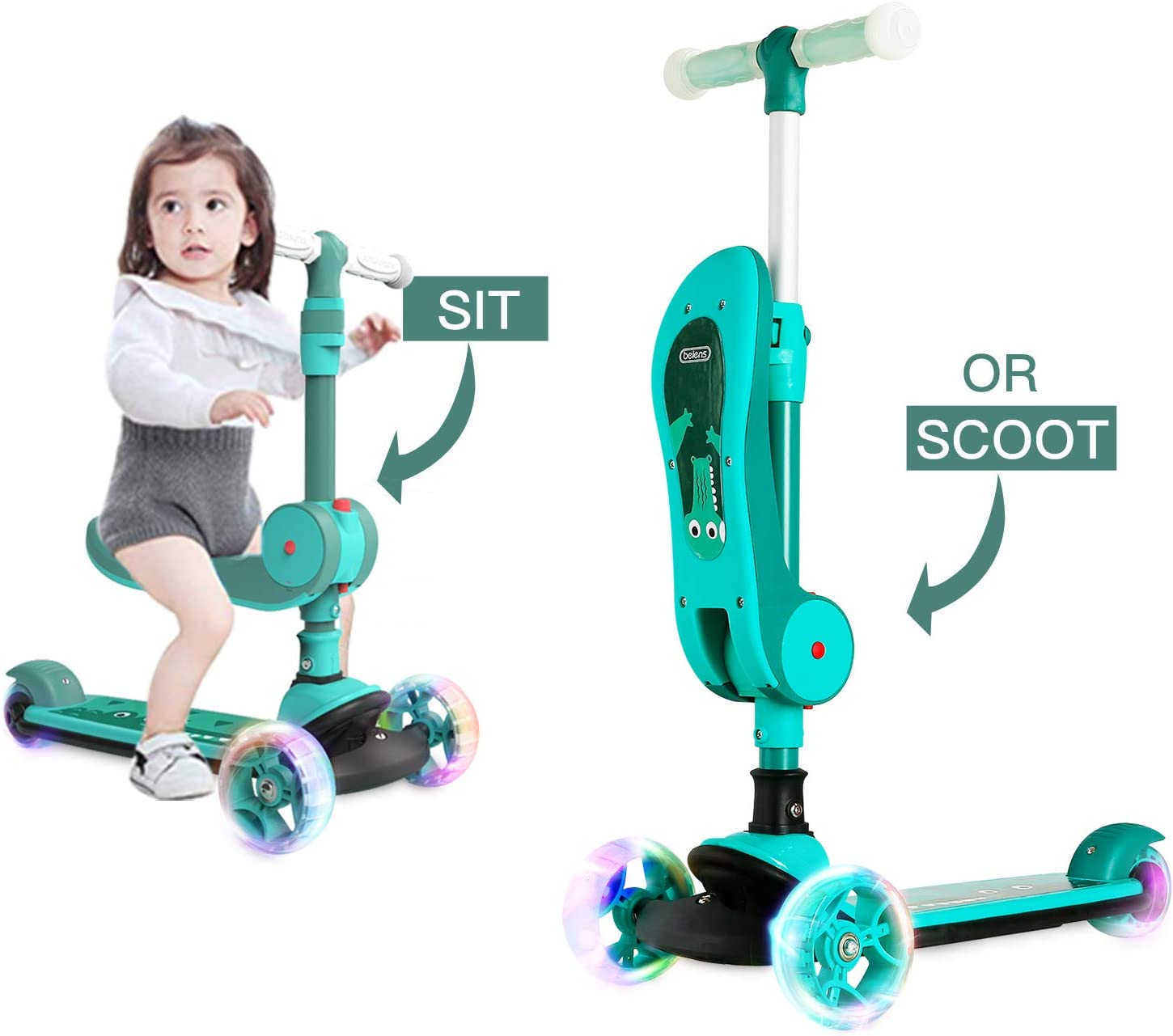 2-in-1 Kick Scooter for Kids, 3 Flashing Wheels Folding Seat with 4 Adjustable Height, Durable Aluminum Frame and Wide Deck, Lean to Steer Kick Scooter Gift for Boys Girls Toddlers 2-14 Years Old