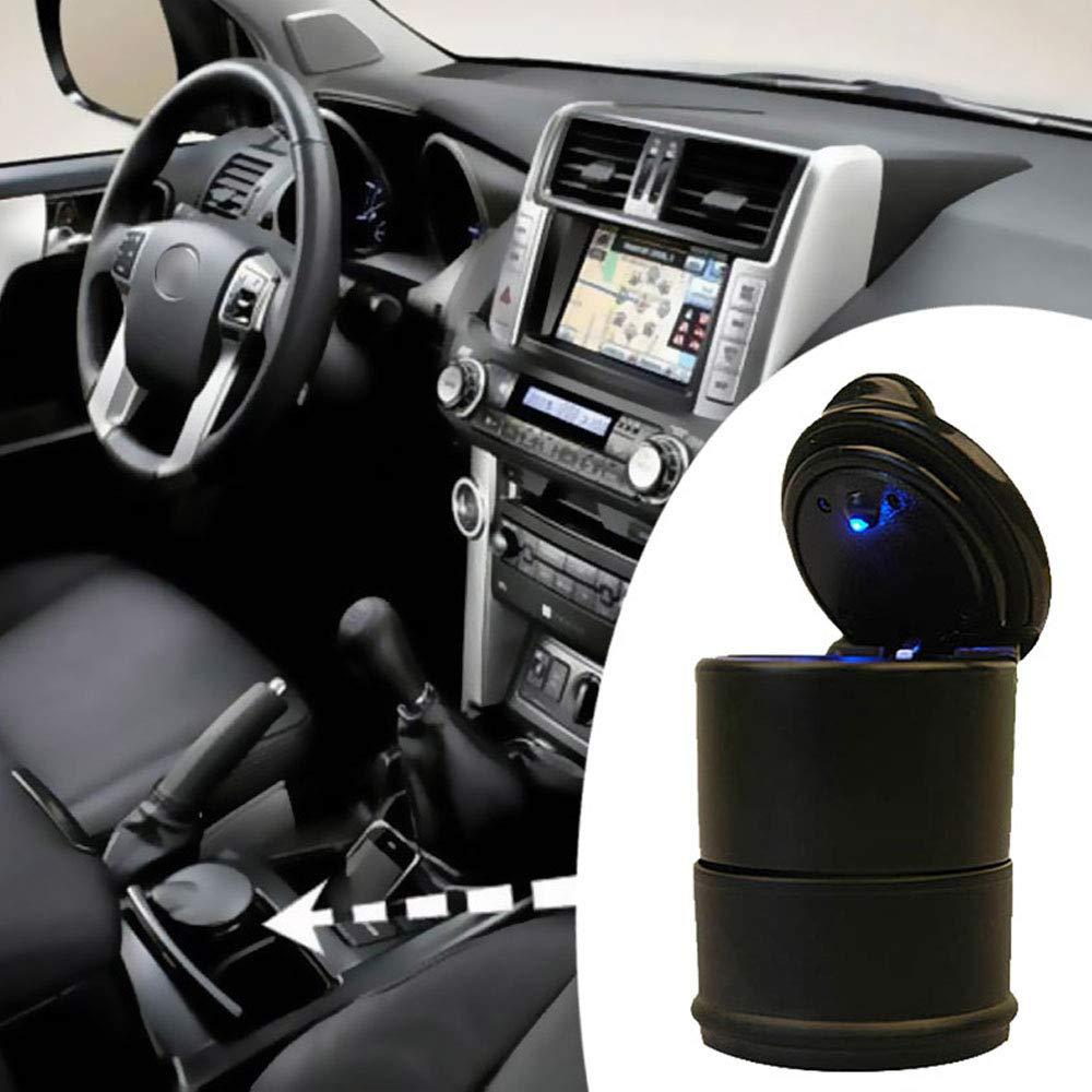 HDL Posacenere per Auto Posacenere per Sigaretta Senza Fumo Portacenere per Auto Portatile con Coperchio e Luce a LED per Viaggi in Auto a casa in Ufficio