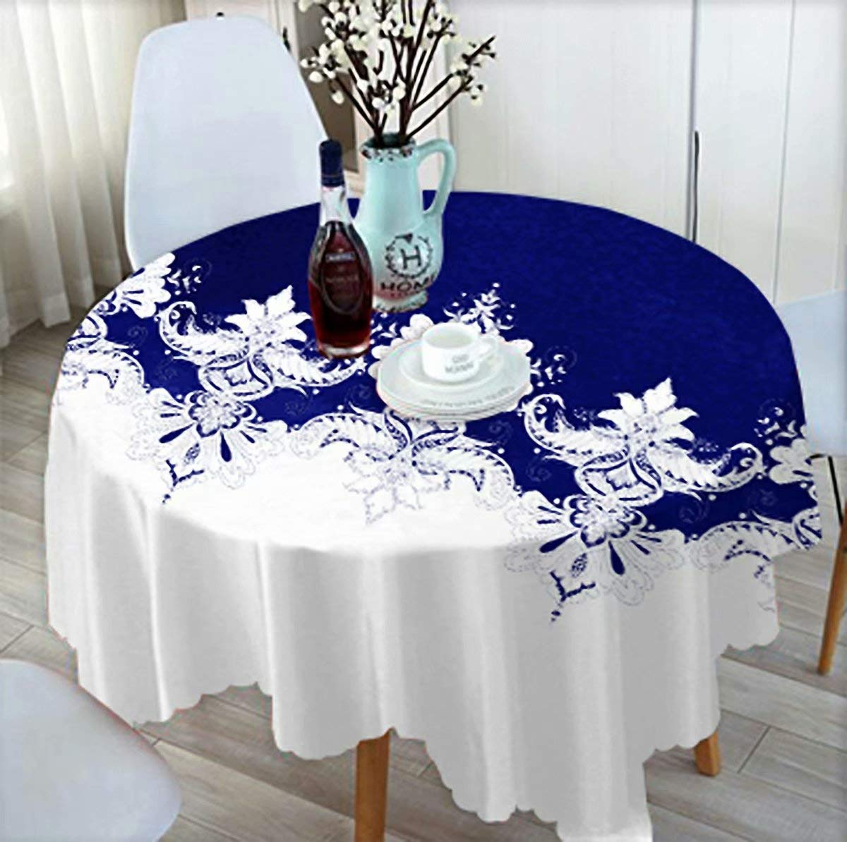 Buy Tablecloth 39 Inch Table Cloth For 4 Foot Table In Washable Polyester Great For Buffet Table Parties Dinner Wedding More Navy Blue White Iris Flower Online At