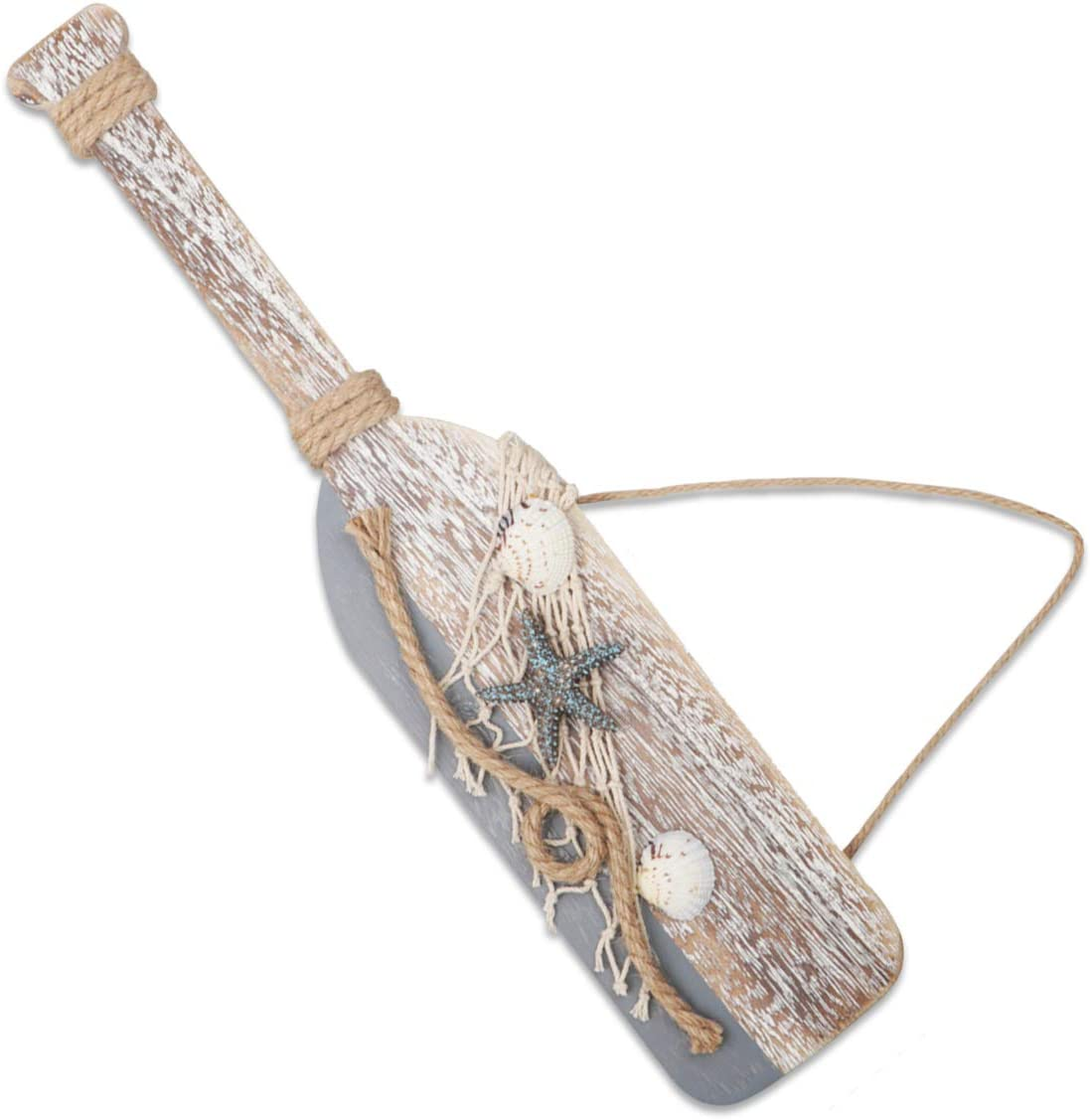 "YiYa 15.7"" Wooden Decor Oar with Starfish and Shells for Nautical Decoration, Wall Decor Door Hanging Ornament Beach Theme Home Decoration"