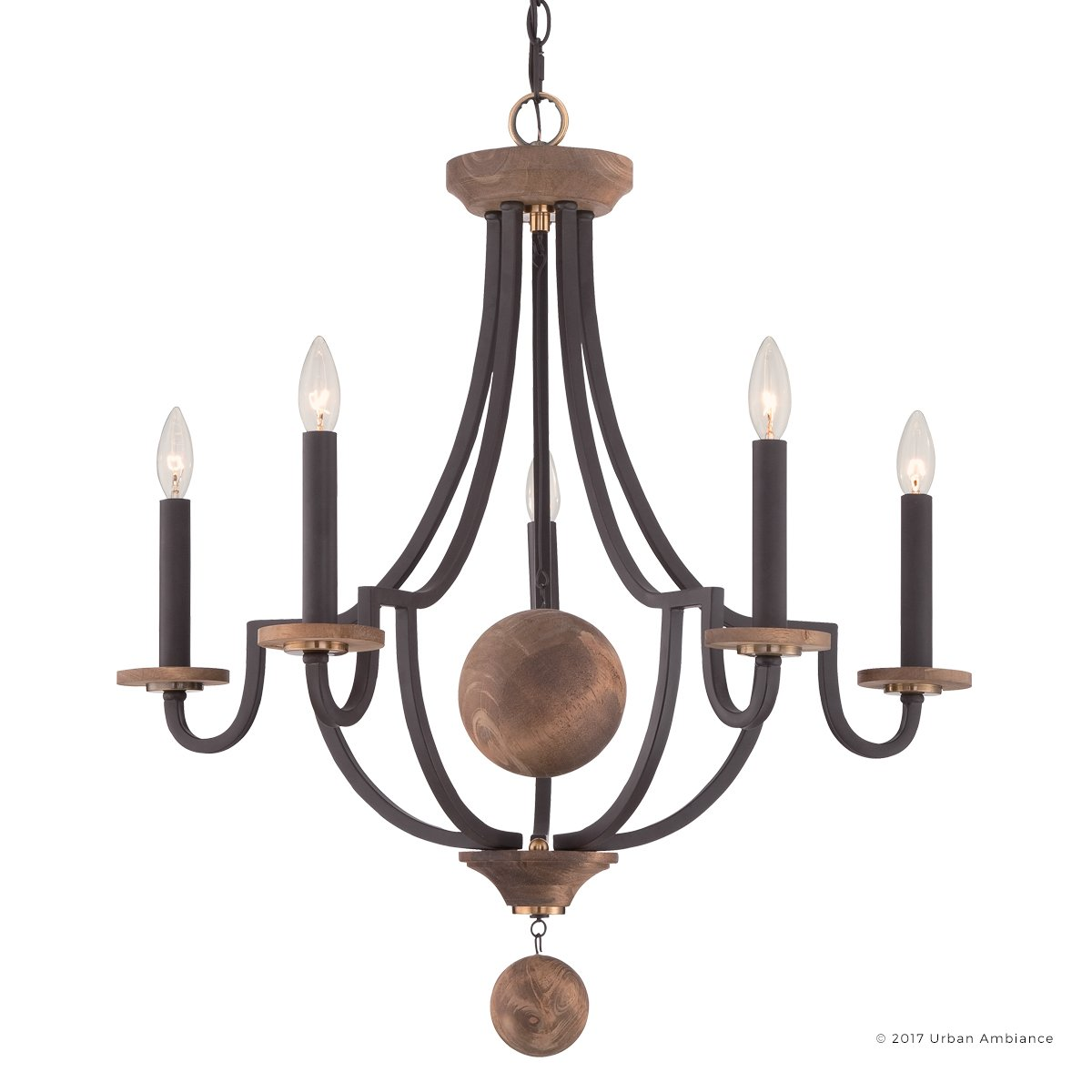 Luxury Transitional Chandelier, Medium Size: 30''H x 28''W, with Rustic Style Elements, Natural Wood Spheres and Antique Brass Accents, Estate Bronze Finish and Exposed Bulbs, UQL2730 by Urban Ambiance