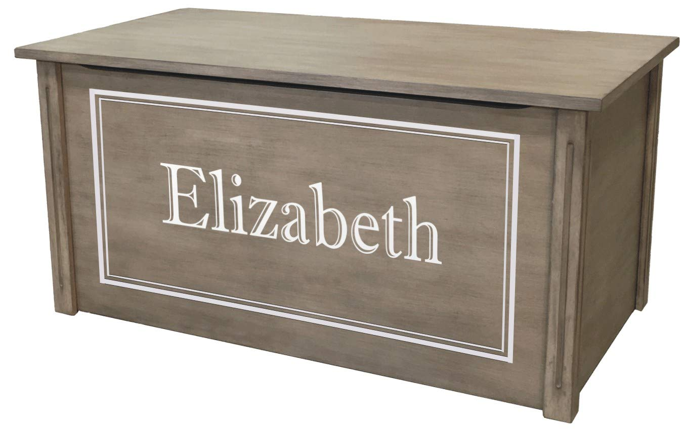 Wood Toy Box, Large Gray Toy Chest, Personalized Shadow Font, Custom Options (Cedar Base) by Wood Toy Box