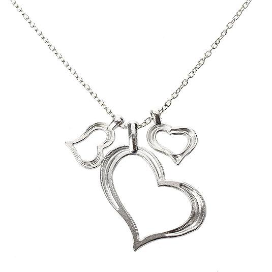 Amazon Com Sodialr Triple Hearts Pendant Necklace Silver Love