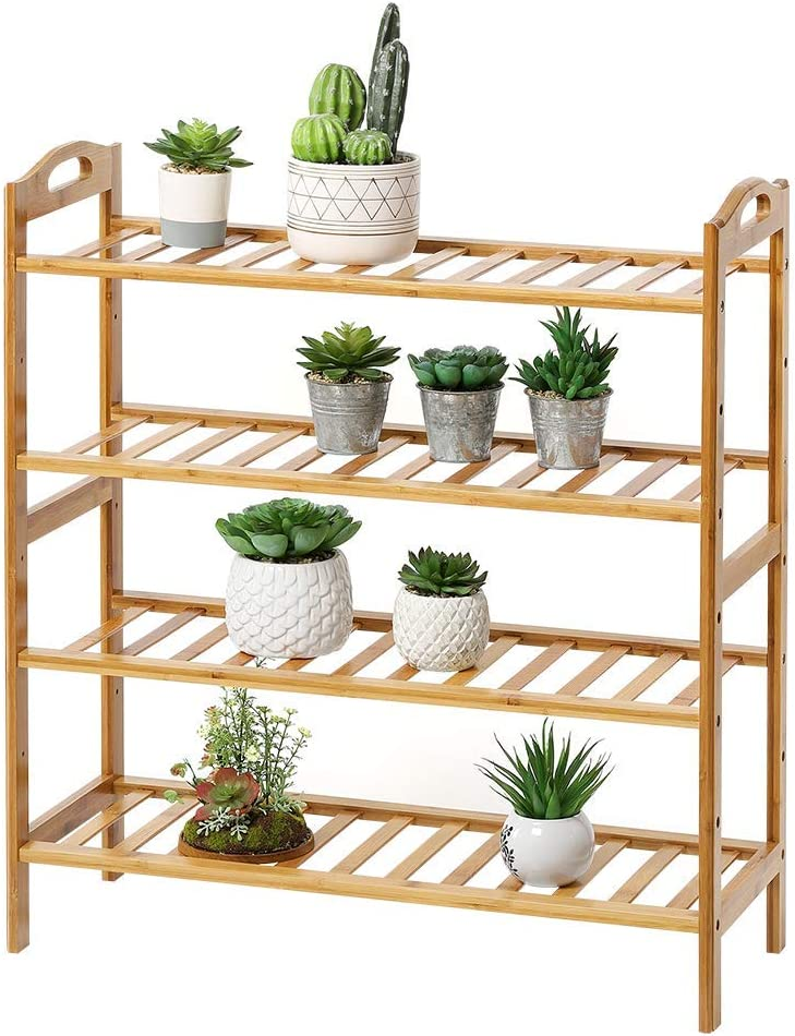 RZChome 4-Tier Wood Color Shoe Rack with Gloves Natural Bamboo Standing Storage Shoe Organized