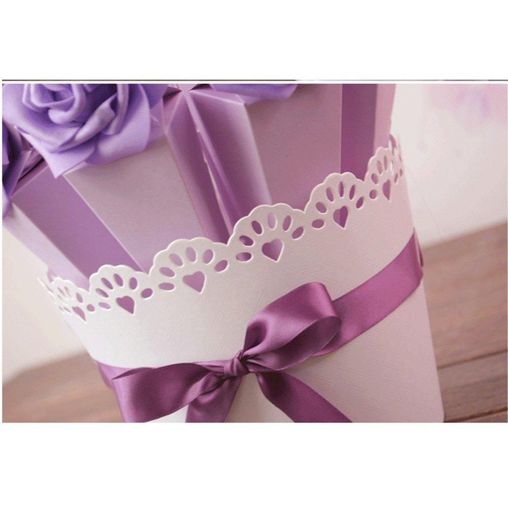 TOYMYTOY Favor de boda Maceta de papel incluyendo 10 piezas Cajas decorativas Contenedores de chocolate dulce caramelo con 10 piezas Flores Decoración y ...