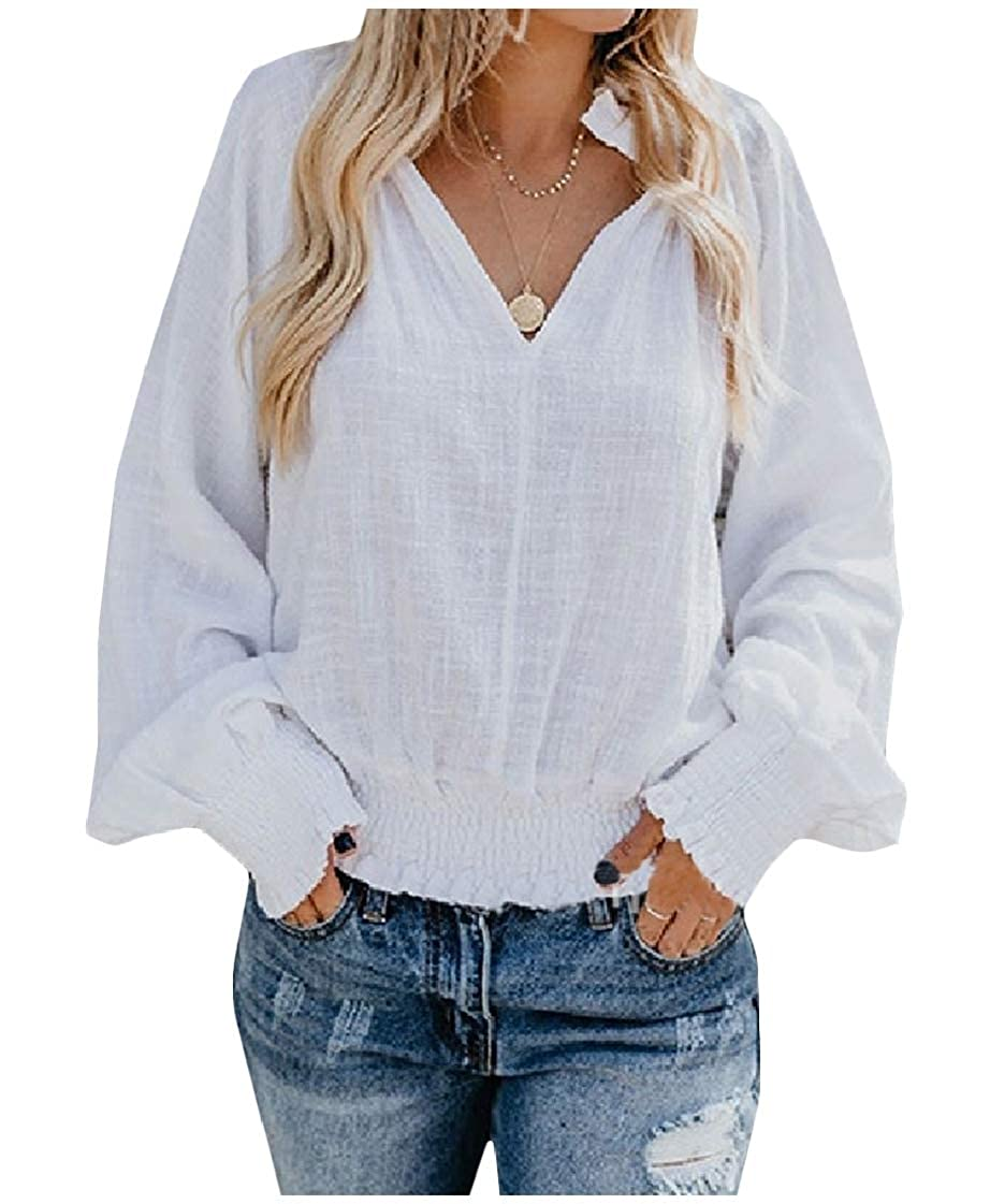 3f2fcf51b DUee Women's Loose Linen Solid V Neck Lantern Sleeve Lounge Top Shirts  White S: Amazon.in: Clothing & Accessories