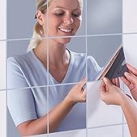 TTPLANET Decorative Mirrors Self Adhesive Mosaic Tiles Mirror Wall Stickers Mirror Decor 16pcs/lot