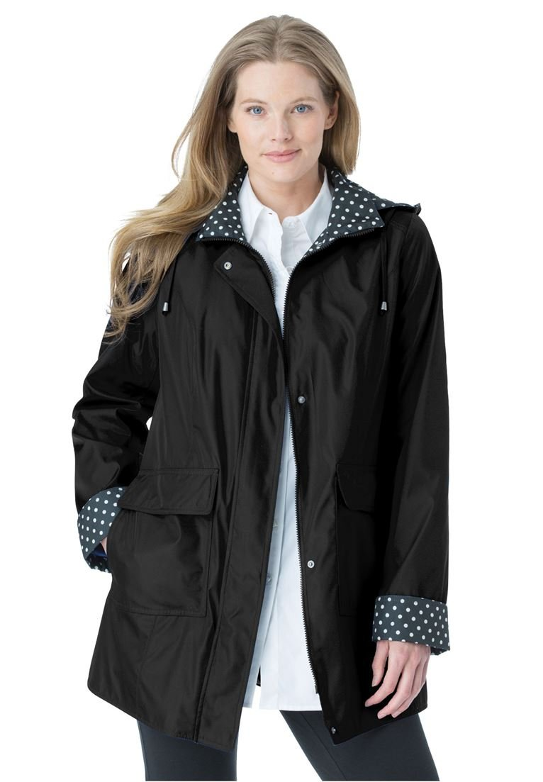 Women's Plus Size Raincoat in New Short Length with Fun Dot Trim Black,24 W