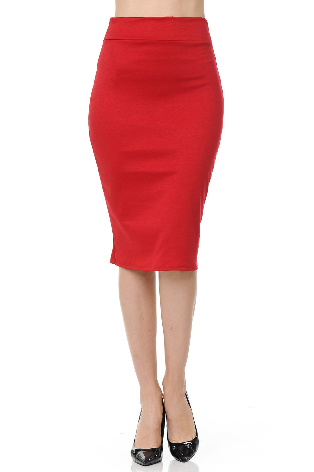 SSOULM Women's Below Knee Stretchy Midi Pencil Skirt for Office Wear RED 1XL