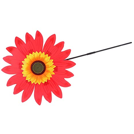 AmWISH 36cm DIY Sunflower Windmill Wind Rotator Kid Outdoor Playground Toy Red