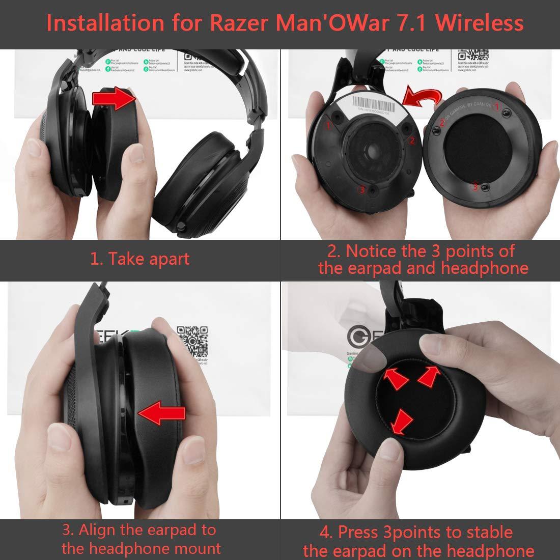 fundas Almohadillas de repuesto para auriculares Razer ManOWar inal/ámbricos 7.1 Sonido Surround almohadillas repuestos Geekria almohadilla para auriculares para videojuegos
