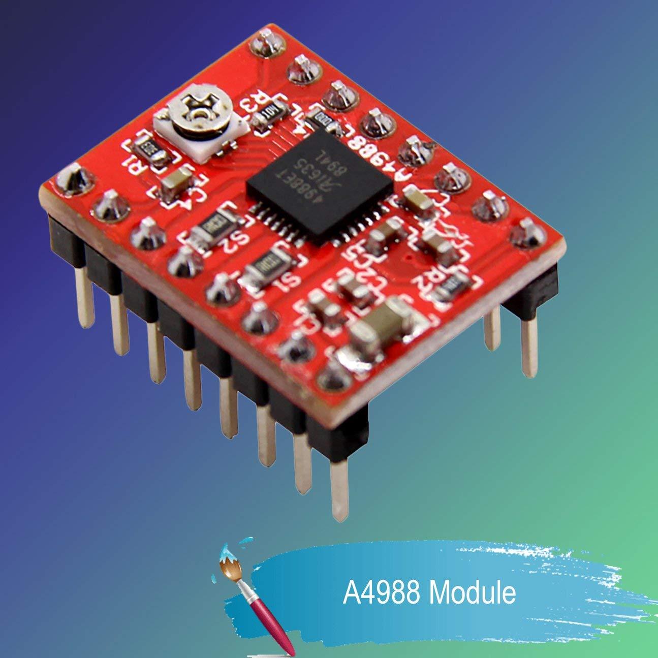 A4988 Breakout Shield Board Controlador del m/ódulo de control del controlador del motor paso a paso con disipador t/érmico Reprap 3D Printer Parts para Arduino