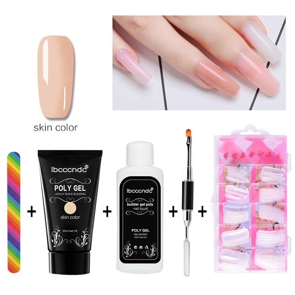 Nail Art Kit, Pawaca Poly Gel Nail Tips Extension Finger Quick Builder Tools Set, Poly Gel + Nail Liquid + Model Nail Tips + Dual Head Nail Brush + Nail File (Transparent)
