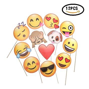 CHSYOO 12x Paper Party Supplies Adornos de Foto de Emoji Foto Panel Photo Booth Props,