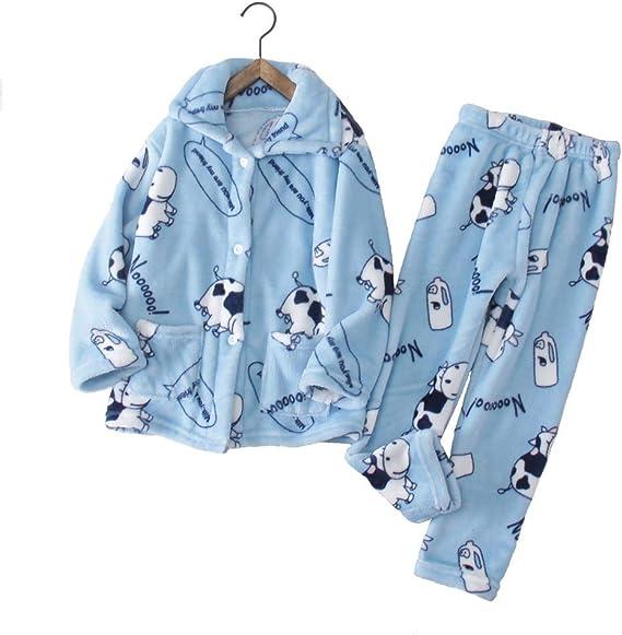 Pijamas para Ni/ños,Ropa De Hogar De Manga Larga con Estampado De Dibujos Animados De Franela De Beb/é para Ni/ños Y Ni/ñas Conjunto De Pijamas De Vaca Lindo