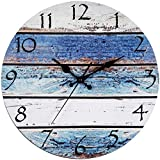 Bernhard Products Rustic Beach Wall Clock 12' Round, Silent Non Ticking Quartz - Battery Operated, Fiberboard Wooden Look, Vintage Shabby Beachy Ocean Paint Boards Nautical Decorative Clocks